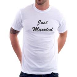 Just married - Pánske tričko s potlačou pre ženatých