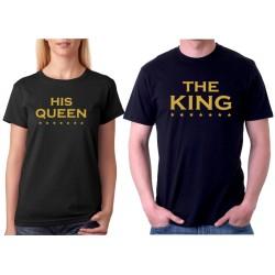 His Queen - Zlatá potlač - King and Queen pre páry - Dámské tričko s potlačou
