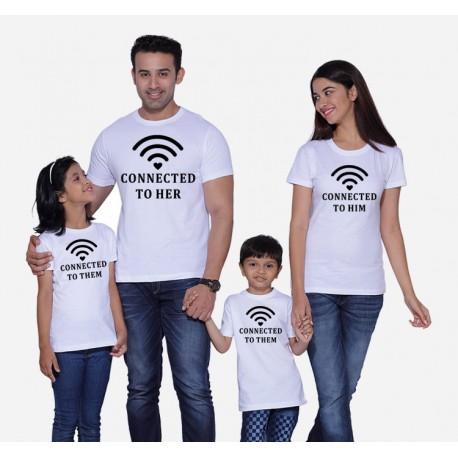 Wifi - connected to HER-HIM - Párové tričko Wifi ze srdíčkem pro zamilované