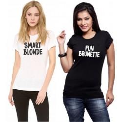 Smart Blondie, Fun Brunette - BFF - Trička pre kamarátky